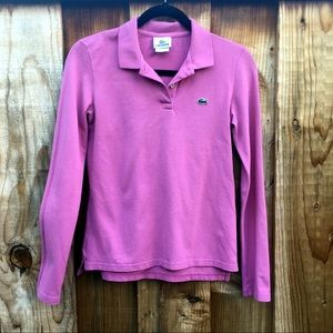 Lacoste Long Sleeve Pink Classic Polo Shirt 36/XS